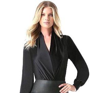 NWT BEBE Black Silk Charmeuse Wrap Body Suit - Med
